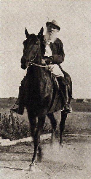 Толстому 81 год (на любимом коне Делире)
