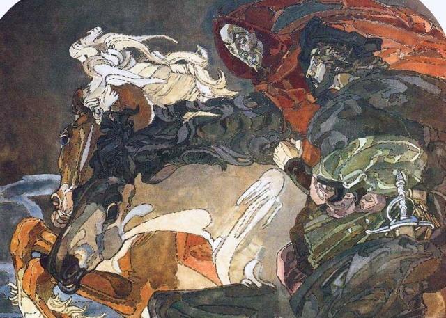 Фрагмент росписи готического кабинета особняка Морозовых в Подсосенском.