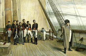 Наполеон на корабле, следующем на остров Святой Елены