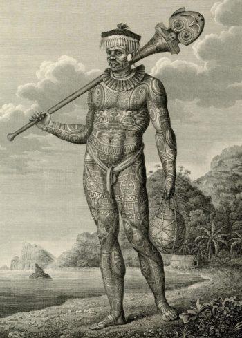 Абориген с острова Нукагива, с ног до головы покрытый татуировками